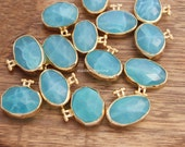 aqua chalcedony charms oval faceted blue green turquoise genuine gemstone faceted gold plated bezel charm pendants