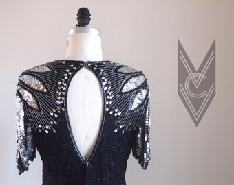 vintage 80s black and silver SPARKLY BEADED and SEQUINED keyhole back party dress