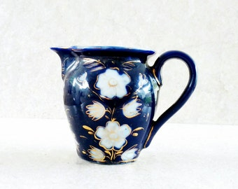 Victorian Era Flow Blue Creamer Blue and White Transferware Polychrome Antique Earthenware Pitcher Colbolt Blue White Flowers Traced In Gold