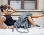 New Grey Loose  Short - Long Extravagant Skirt  / Cotton  Blend Grey Melange Autumn Collection  by Aakasha A09499