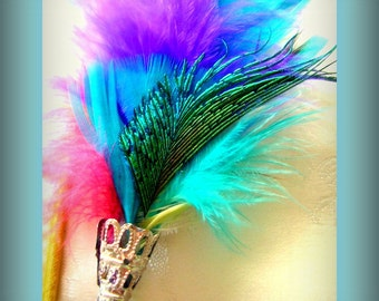 Hat Pins Brooch Hat Fascinator Green Peacock Feathers Stick Pin Handmade Silver or Gold  fillagree