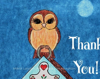 Owl/ Birdhouse Thank You Cards - Greeting Cards - Note Cards with White Envelopes.