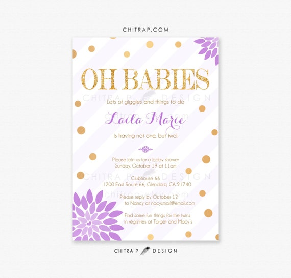 purple gold baby shower invitations printed twins gender neutral