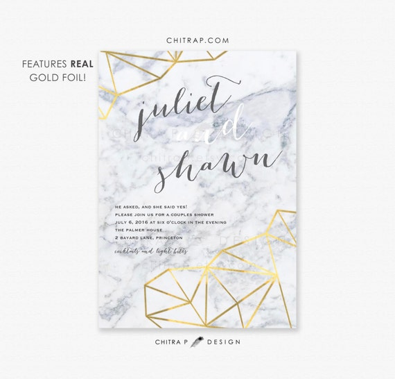 marble couples shower invitation printed real gold foil by