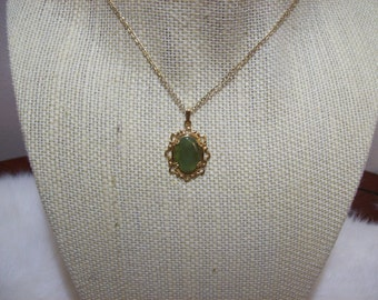 Jade & Gold Pendant Necklace