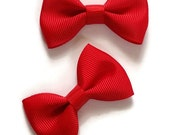 Set of Two Mini Bow Tie Hair Bows Girls Teen Toddler Infant Everyday Party School Photo Hair Bows