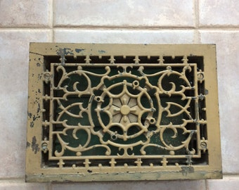Ornate Floor Register Complete No Mounting Holes for Walls