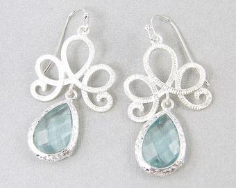Pale Blue Earrings, Silver Filigree Earrings, Aqua Drop Earrings, Silver Dangle Dainty Bridal Jewelry  AB2-4