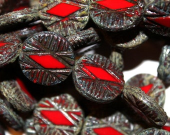 6 Red Table Cut Picasso Czech Wheel/Rhombus Beads