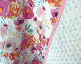Indie Bloom Floral Crib Bedding Pink Floral Baby Quilt Crib Bedding Pink Mint Fuchsia