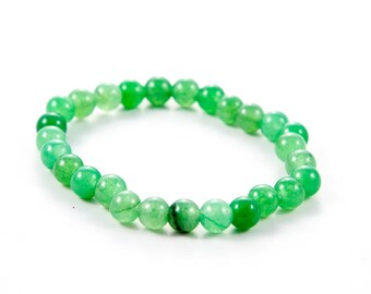 Bright Green Stone Stretch Bracelet, Agate Stacking Bracelet, Semi Precious Gemstone Elastic Bracelet, Large & Small Sizes,