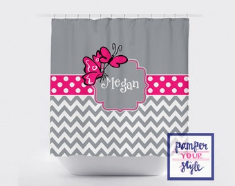 Personalized Butterfly Shower Curtain - Hot Pink and Gray Bathroom Decor