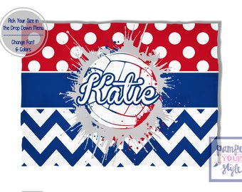 Volleyball Blanket Red White and Blue Spirit Blanket - Personalized Custom Volleyball Blanket - Custom Volleyball Blanket