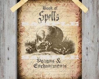 Book Cover of Spells Potions and Enchantments DIY Instant Digital Download - Halloween Art, Party Decoration, book cover & More