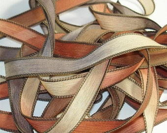 Toasted Marshmallow 42 inch silk ribbons// Silk Wrist Wrap Ribbon// Yoga Wrap Ribbons//Silk wrap ribbons, By Color Kissed Singles
