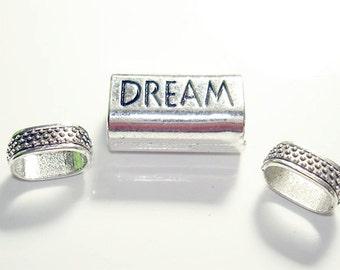 "3pc Dream Antique Silver tube slider charm//Stamped ""DREAM""/Inner diameter 11MM X 8MM Antique Silver Plated Finish Slider Charm Beads//"