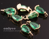 4pcs-7.5mmX3.5mmSmall Bright Gold Faceted tear drop Cubic with rim Charms-Emerald(M388G-C)
