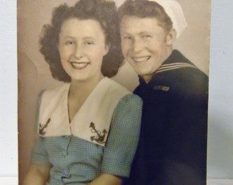 1940's WWII US Navy Sailor and his Girl Studio Photo