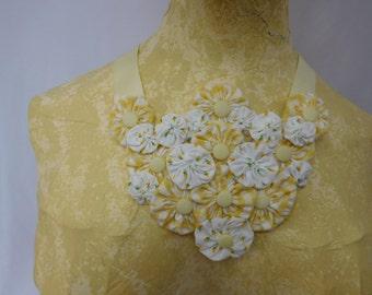 Yellow and White Yoyo Bib Necklace Rosebud Vintage Fabric Vintage Buttons Boho Cottage Style  Ribbon