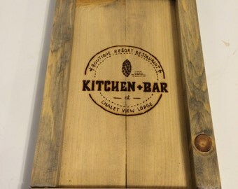Personalized restaurant guest check presenter, small rustic tray, restaurant check tray. logo check tray