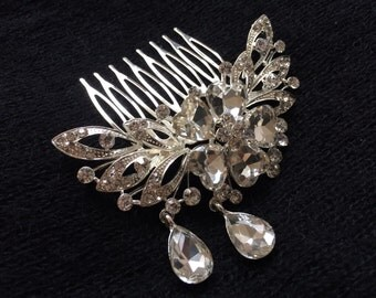 Bridal hair comb, wedding hair comb, teardrop hair comb, Wedding hair comb, Bridal hair comb, Barrette clip, Vintage brooch, Silver romantic