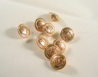 15mm Gold Colour Acrylic Round Shank Buttons, Pack of 12 Carved Anchor Buttons, RB12