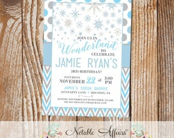 Winter Wonderland Snowflake chevron and polka dots Grays and Light Blues Birthday Party invitation - any age