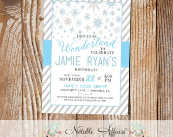 Winter Wonderland Snowflake stripes Grays and Light Blues Birthday Party invitation - any age - Winter Wonderland Party