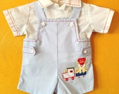 Vintage baby boy two piece shirt and overalls/ vintage baby clothes/ train overalls: retro baby boy size 0/3M