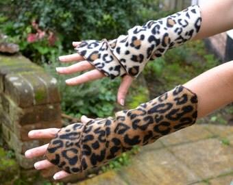 Leopard Print Wrist Warmers, Gauntlets, Fingerless Gloves…...Festival, Boho, Psy, Gypsy, Steampunk, Fantasy