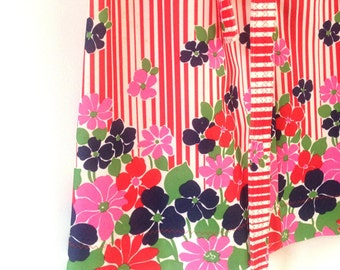Vintage dress 60s red white floral psychedlic summer day dress