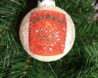 NEW!! Jack Daniels Tennessee Fire Whiskey glass glitter ornament