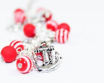 Anchor Bracelet Nautical Jewellery Red and White Bracelet Rockabilly Jewelry Pinup Girl Jewellery