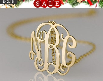 Monogram necklace - 1.25 inch Personalized Monogram - 925 Sterling silver 18k Gold Plated