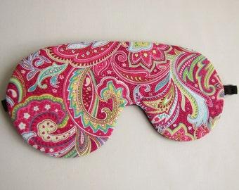 Pink Paisley Sleep Mask, Adjustable sleeping mask, Paisley Eye Mask