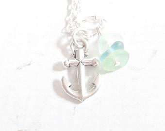 Sea Glass Pendant, Seaglass Anchor Necklace Ombre Sea Glass Jewelry, Eco Friendly Beach Glass Necklace