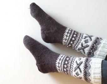 Socks Stockings hand knitted Leg warmer milk white size 6 7 8 brown handmade pattern ready to ship Wool knee high woman children girl