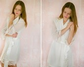 VIRGINIE. 6 custom chiffon lace trimmed robes in a knee length. Dressing gowns. Bridesmaids robes and bridal robes.