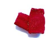Unisex mittens red fingerless mitts ruby fashion gloves women's fall fashion accessories handmade crochet woollen