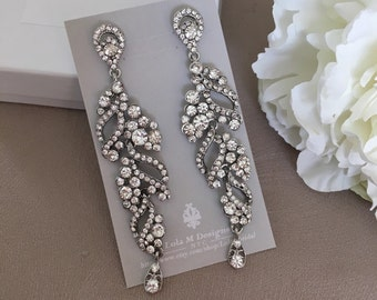 Bridal chandelier earrings, wedding jewelry, rhinestone chandelier earrings, bridal jewelry, Crystal earrings wedding earrings
