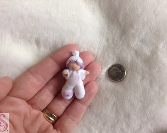 OOAK Artist mini clay soft bodied baby 4.5cm handmade 12th dolls house art GIFT / collectable by Sweet Miniature Artisan Sheryl Coupland