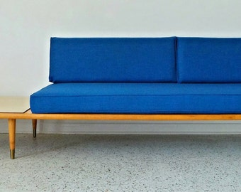 SALE - mid century modern long low Blue tweed floating platform sofa Pearsall Nelson