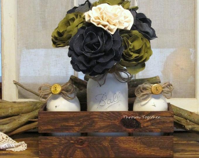 Rustic Fall Centerpiece, Farmhouse Centerpiece, Rustic Wedding Decor, Olive Green & Denim Fall Centerpiece, Mason Jar Crate Bouquet Decor