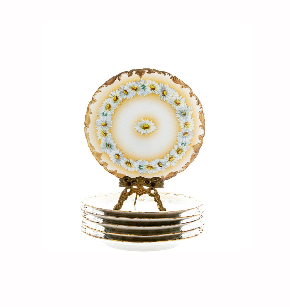 Antique T V Limoges Plates Set Of 5 Tressemann And Vogt Daisy