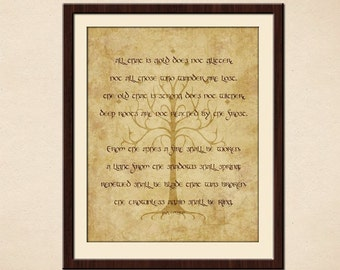 Not All Those Who Wander Are Lost Poster - Riddle of Strider Poem Sindarin Elvish