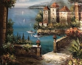 Tapestry, Oil Painting, Canvas, Metal Rods, Italian Landscape, Hanging Wall Decor