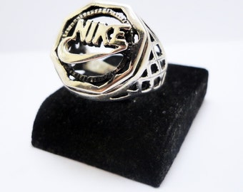 Silver Nike Ring, Sterling Silver Ring, Solid Silver Ring, 925 Silver Ring
