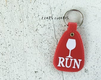 Wine Run Vintage Style Keychain