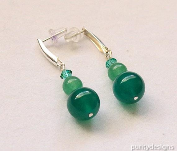 Emerald Green Onyx Earrings, Gemstone, Drop and Dangle, May Birthstone, Swarovski Crystal Beads, Sterling Silver Ear Posts