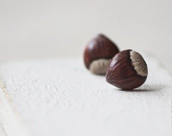 Hazelnut Stud Earrings - Small Ear Studs - Earrings Post - Food Jewelry - Vegan Earrings - Wood Earrings - Autumn Jewelry